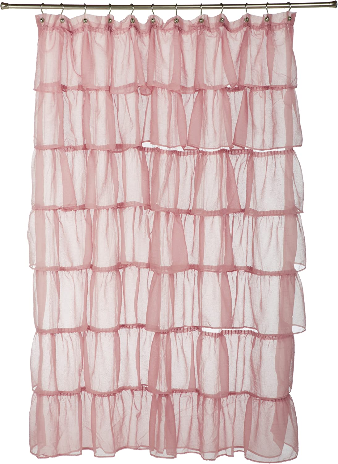 LORRAINE HOME FASHIONS Gypsy Shower Curtain, 70-Inch by 72-Inch, Pink