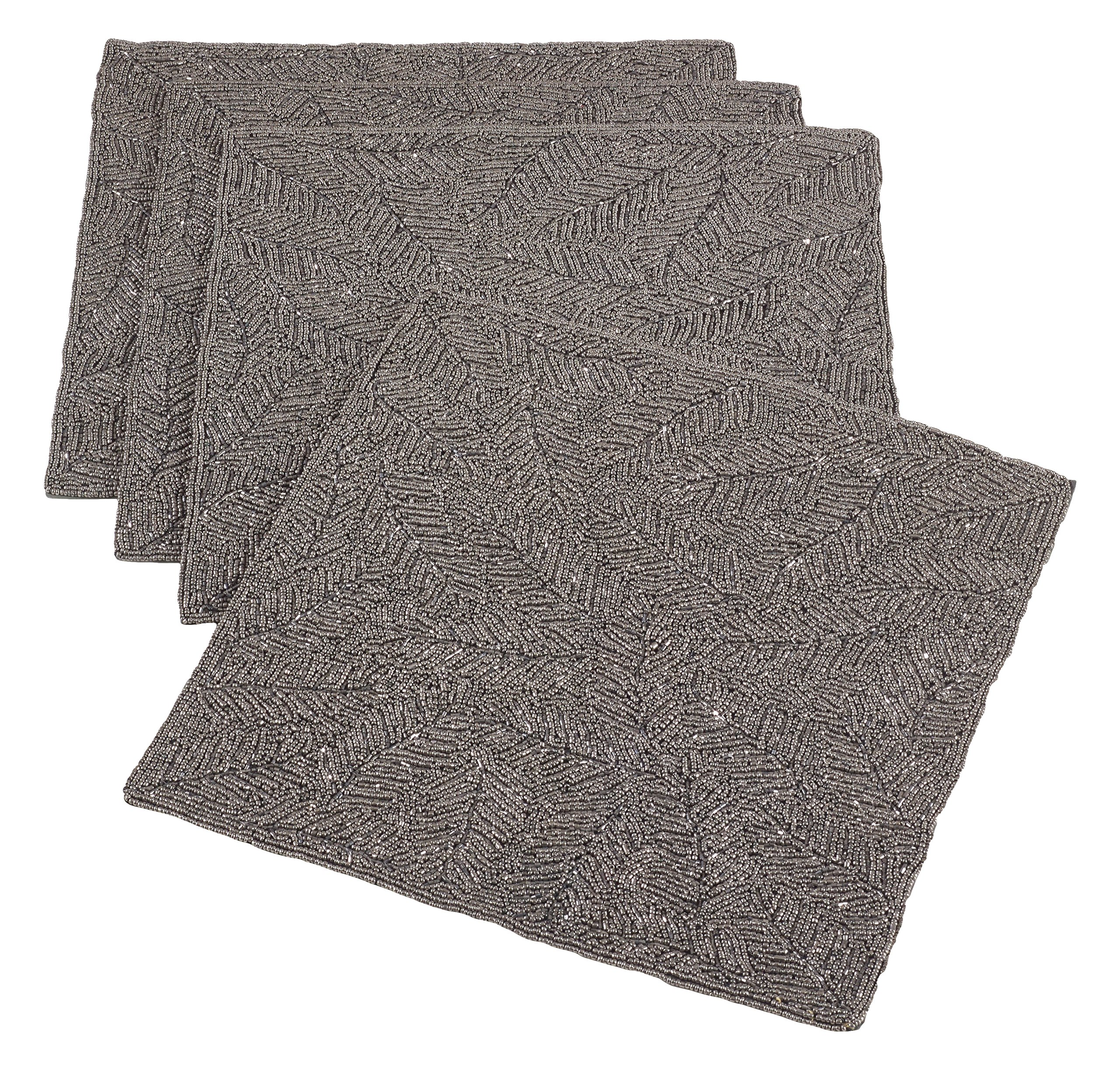 Saro LifeStyle 2357.GY15S  Beaded Design Placemat , Grey, 15'' (Set of 4 pcs)