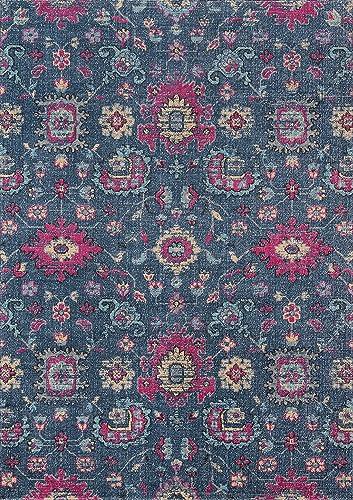 Momeni Rugs Jewel Traditional Floral Flat Weave Area Rug 7 10 x 9 10 Denim Blue