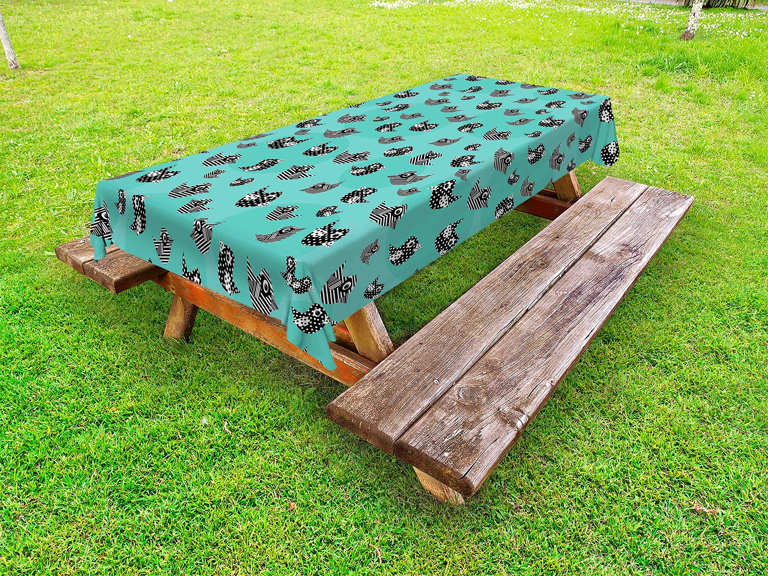 Lunarable Turquoise Outdoor Tablecloth, Pattern Flying Cute Birds Striped Paper Cut DIY Springtime Romantic Art, Decorative Washable Picnic Table Cloth, 58 X 84 inches, Seafoam Black White
