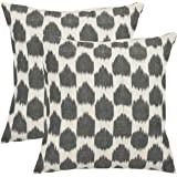 Safavieh Pillow Collection Stone's Throw 22-Inch Decorative Pillows, White and Charcoal Grey, Set of 2