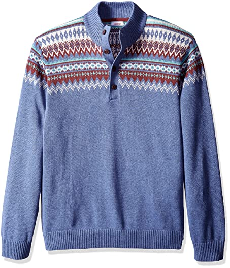 IZOD Men's Big and Tall Saltwater Fairisle Button Mock Sweater ...