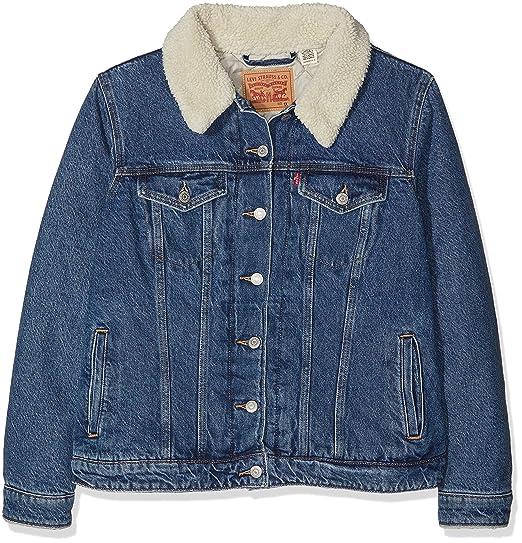 Levi s Plus Size Women s Pl Sherpa Trucker Denim Jacket  Amazon.co.uk   Clothing 92517ac26a54