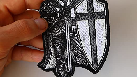 bddc0c94704 Amazon.com  Black and White Crusader Knight Small Patch - 3.3x4.5 inch. Embroidered  Iron on Patch  Arts