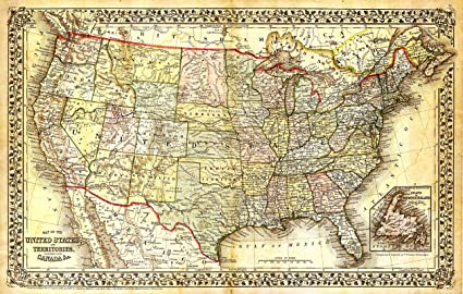 Amazoncom Beautiful Vintage United States Map Poster 12x7 Inches - Us-map-poster