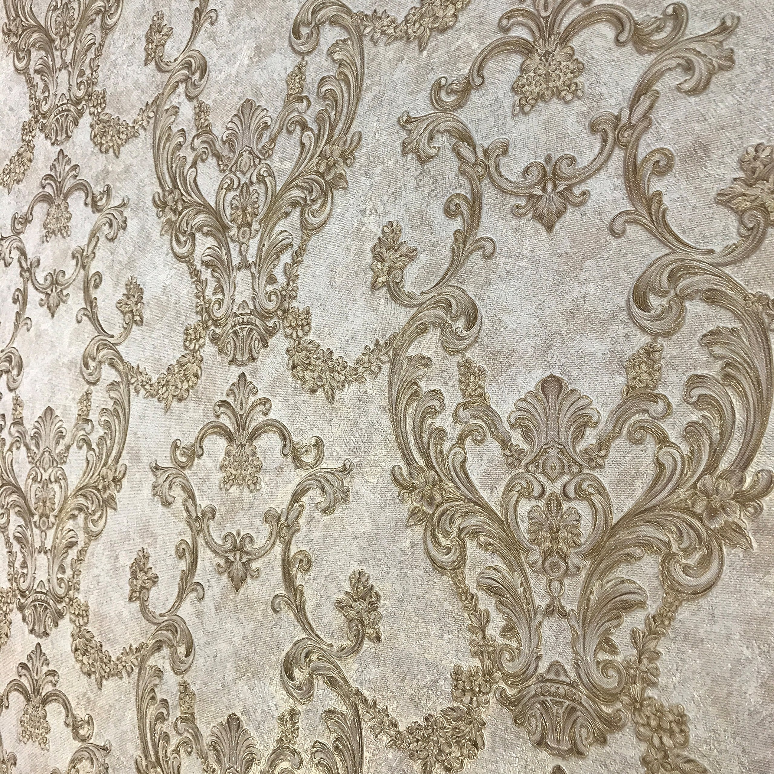 Embossed Vinyl Non-Woven Slavyanski wallcovering victorian damask 3D vintage retro pattern Wallpaper rolls ivory brown gold bronze metallic textured rust rustic plaster effect glitters paste the wall