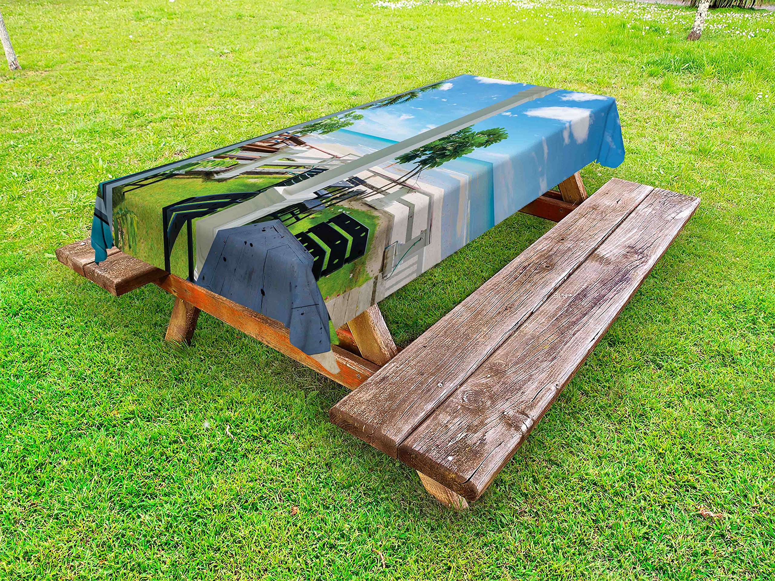 Lunarable Coastal Outdoor Tablecloth, Outdoor Wood Chairs and Tables by The Sea Trees Greenery Summer Villa Print, Decorative Washable Picnic Table Cloth, 58 X 120 inches, Green Blue White