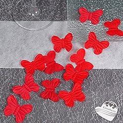 EinsSein 100x Rosenblüten Schmetterling 4cm rot Dekoration Blüten Blumen Hochzeit Streudeko Konfetti