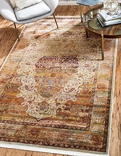 Unique Loom Baracoa Collection Bright Tones Vintage Traditional Cream Area Rug 10' 0 x 13' 0