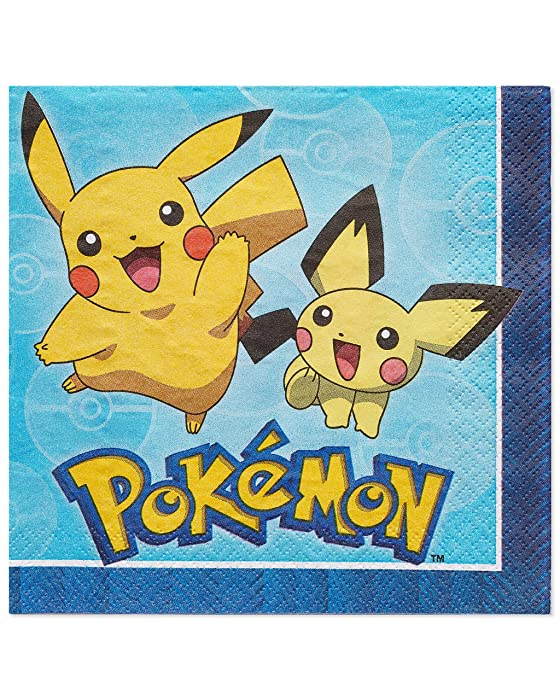 American Greetings Pokémon 16 Count Lunch Napkins tableware, Pieces - 5877207