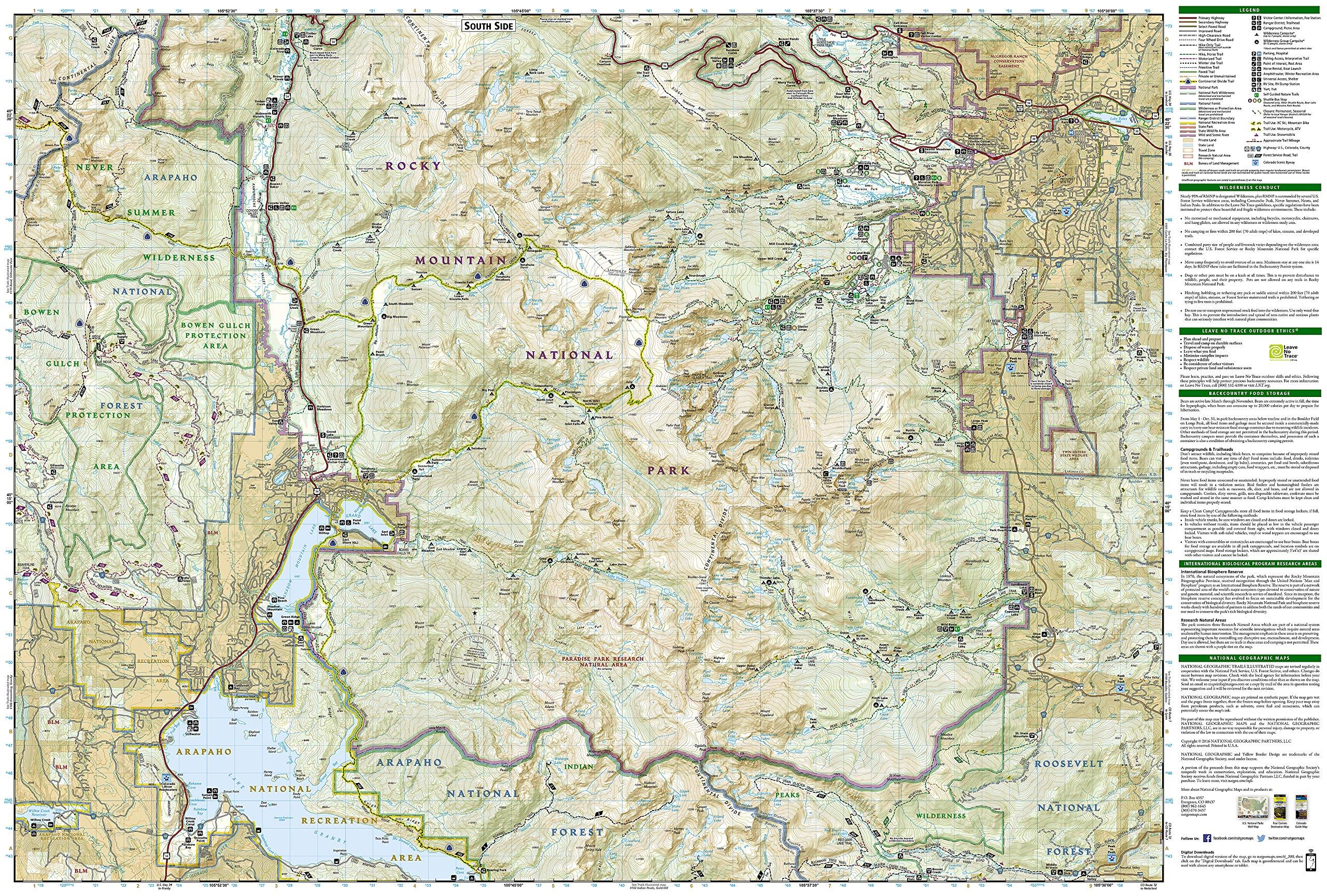 rocky mountain national park hiking map trails illustrated maps 9781566953429 amazoncom books