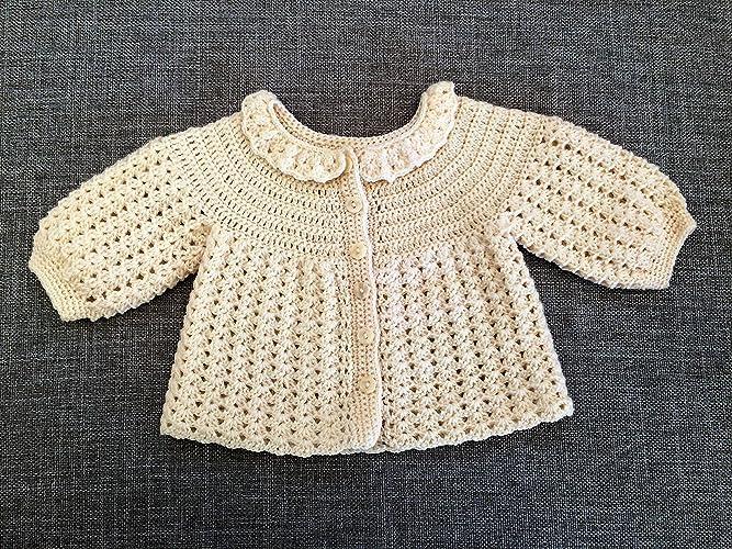 4083a9d4883c Amazon.com  Baby Wool Chevron Jacket. Crocheted Baby Cardigan ...