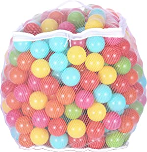 BalanceFrom 2.3-Inch Phthalate Free BPA Free Non-Toxic Crush Proof Play Balls Pit Balls- 6 Bright Colors in Reusable and Durable Storage Mesh Bag with Zipper