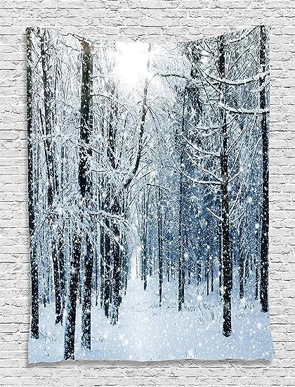 Amazon Com Ambesonne Snowy Trees Mountain Winter Holiday Digital