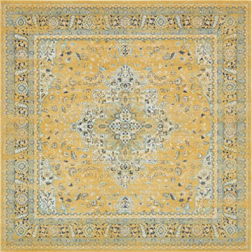 Unique Loom Tradition Collection Classic Southwestern Yellow Square Rug 8 4 x 8 4