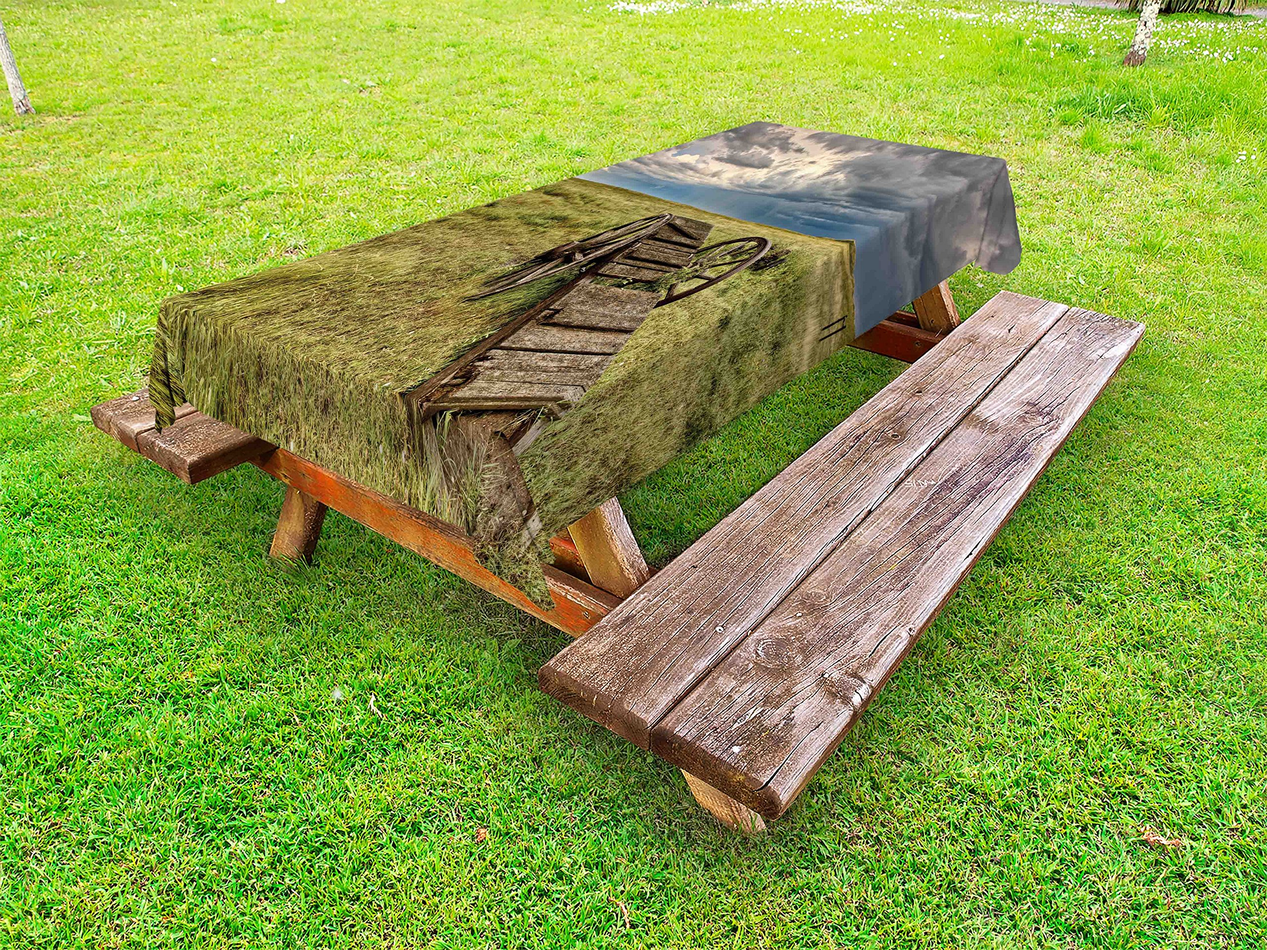 Ambesonne Barn Wood Wagon Wheel Outdoor Tablecloth, Old Prairie Cart Agricultural Field Ranch Dramatic Stormy Sky, Decorative Washable Picnic Table Cloth, 58 X 104 inches, Green Brown Grey