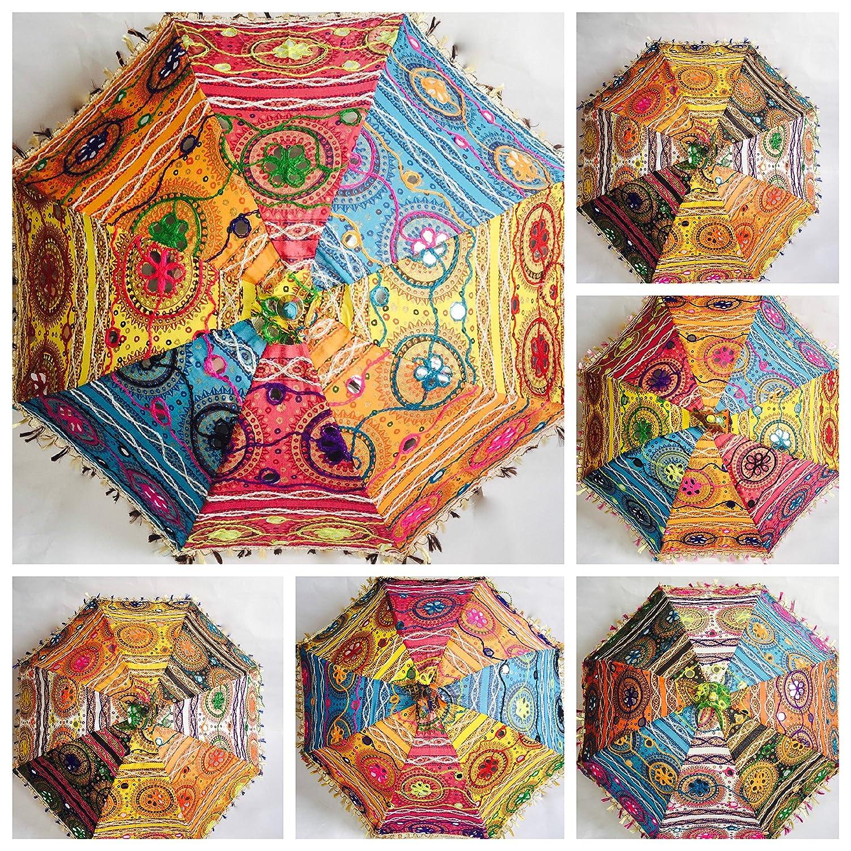 Bazzaree Ombrello decorativo indiano, in cotone, con ricami, parasole, mandala