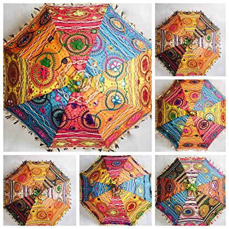 54ba0c3eb16 Decorative Indian Cotton Parasol Embroidery Women Sun Protect Umbrella  Mandala  Amazon.co.uk  Kitchen   Home