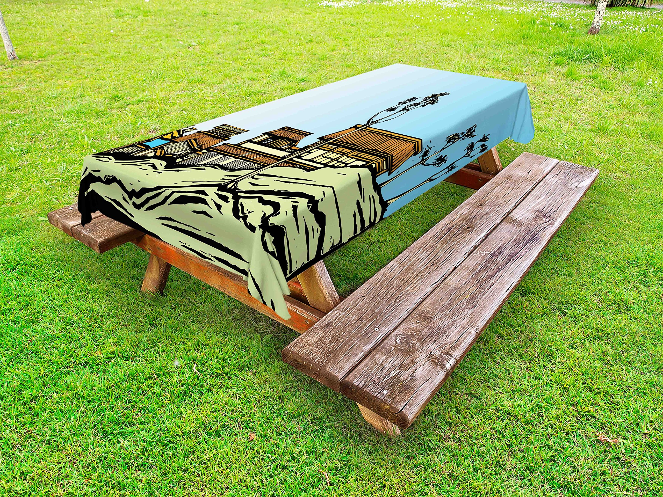 Lunarable Japanese Outdoor Tablecloth, Traditional Asian Houses with Woodblocks Middle Ages Village Scene Autumn Season, Decorative Washable Picnic Table Cloth, 58 X 120 inches, Multicolor