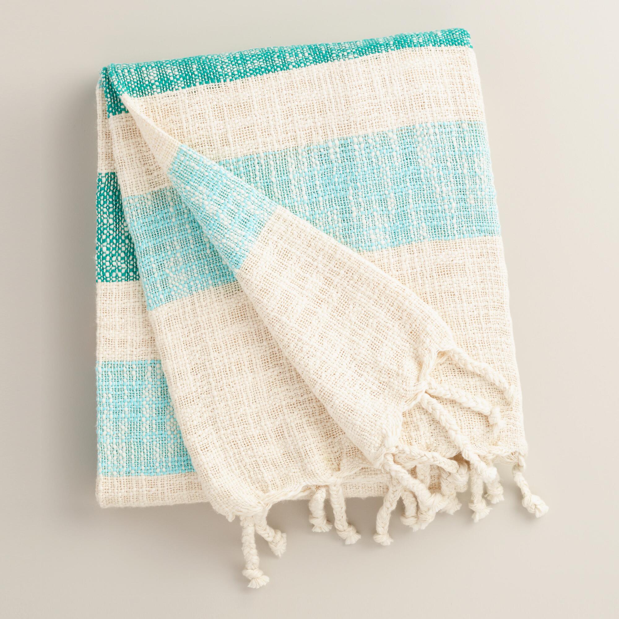 Blue Stripe Cotton Outdoor Throw | World Market