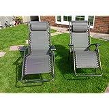 Premium Quality Set of 2 Brown Zero Gravity Relaxer Recliner Garden Sun Lounger Chairs
