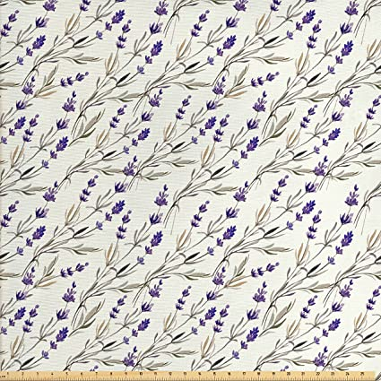 Ambesonne Purple Decor Fabric By The Yard Lavender Paint Style Pattern French Fragrance Organic Herb