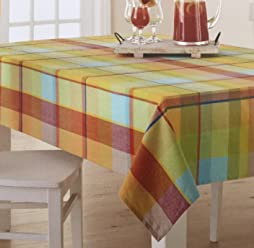 Celebrate Pastel Plaid Woven Fabric Tablecloth (Rectangle/Oblong 60