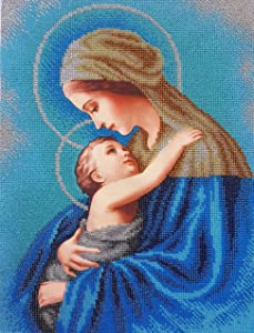 Bead Embroidery kit Virgin Mary and Baby Beaded Cross Stitch Madonna and Child Religion Our Lady icon Religious Picture DIY Gift for Priest