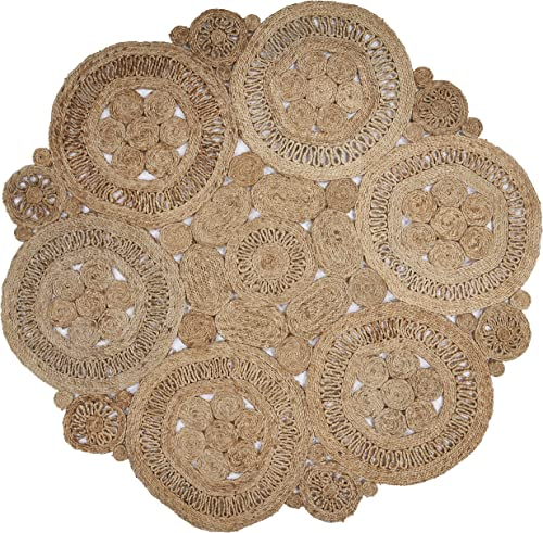 LR Resources Jute LR12031-NAT60RD Natural Round 6 ft Indoor Area Rug