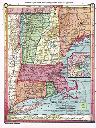 Amazoncom  Barness Geography  NEW ENGLAND STATES Map by