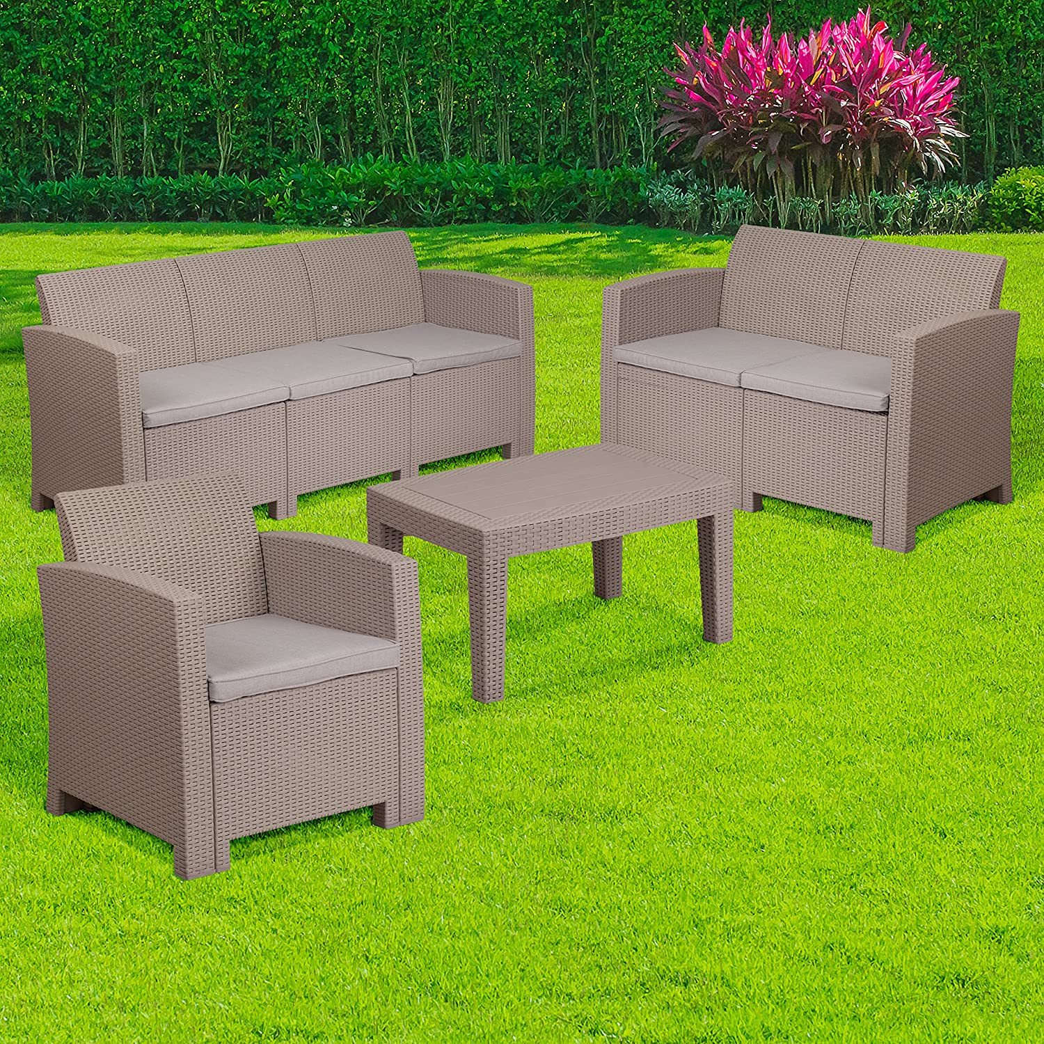 Flash Furniture 4 Piece Outdoor Faux Rattan Chair, Loveseat, Sofa and Table Set in Charcoal