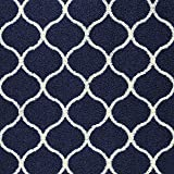 Maples Rugs Kitchen Rug Set - Rebecca [3pc Set] Non Kid Accent Throw Rugs Runner [Made in USA] for Entryway and Bedroom, Navy Blue/White