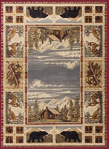 Tayse Lakeside Retreat Red 8×11 Rectangle Area Rug Cabin