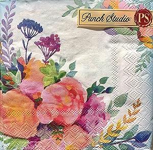 Punch Studio Set of 40 Cocktail Beverage Paper Napkins, Spring Clusters 17825