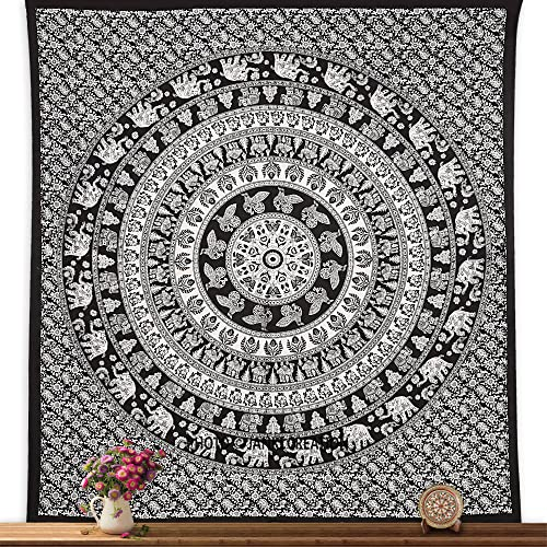 Black White Wall Hanging Tapestry Double Size Wall Cotton Mandala Bedspreed,Elephant Mandala Indian Bohemian Hippie Hippy Wall Hanging Tapestry,Yoga Beach,Tapestry, Queen Ombre Gift Hippie tapestrie