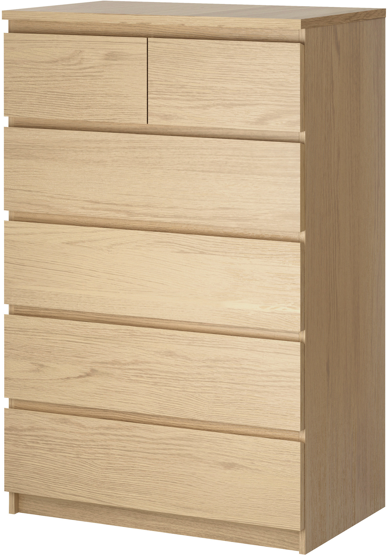 MALM 6-drawer chest - white stained oak veneer - IKEA