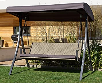 Amazon.de: Hollywoodschaukel Bering moderne Design Rattan Schaukel 3 ...