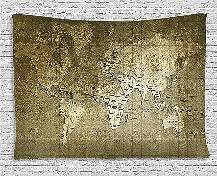 Antique World Map Tapestry.Amazon Com Ambesonne World Map Tapestry Antique Decor Old Map With