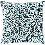 "Amazon Brand – Stone & Beam Medallion Decorative Throw Pillow, 17"" x 17"", Aqua"