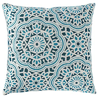 Stone & Beam Medallion Decorative Throw Pillow, 17  x 17 , Aqua