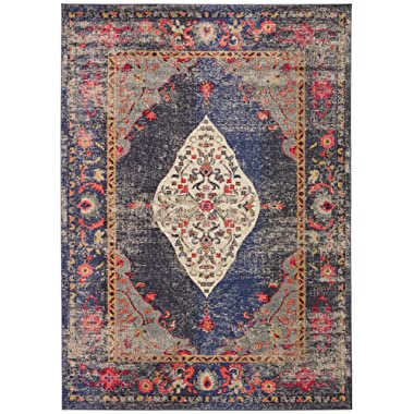 "Rivet Distressed Color Medallion Area Rug, 5' 3"" x 7' 7 , Navy"