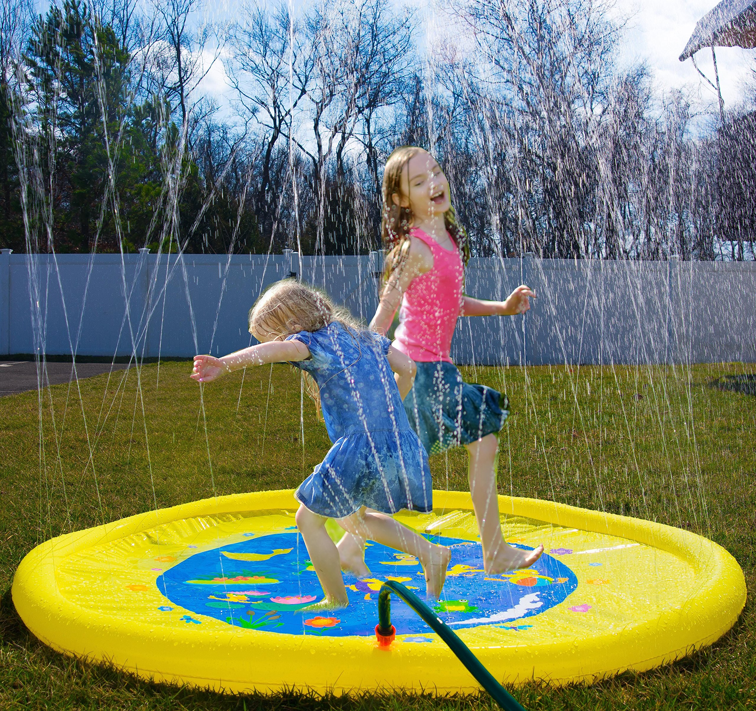 Splashin'kids 68'' Sprinkle and Splash Play Mat toy is for children infants toddlers,boys, girls and kids - perfect inflatable outdoor sprinkler pad