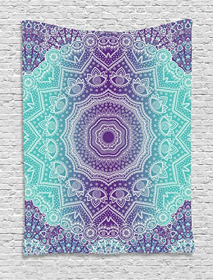 Amazon.com: Ambesonne Purple and Turquoise Tapestry, Hippie Ombre ...