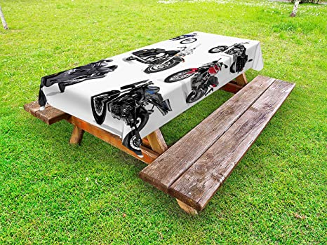 Fine Amazon Com Lunarable Motorcycle Outdoor Tablecloth Unique Squirreltailoven Fun Painted Chair Ideas Images Squirreltailovenorg