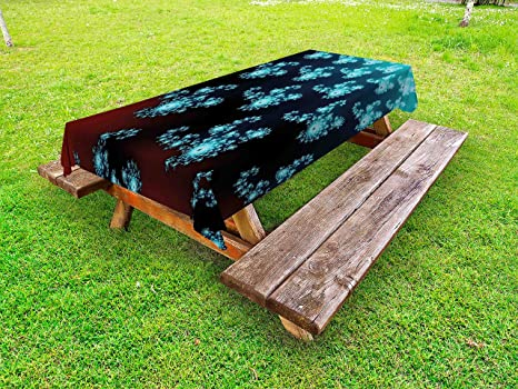 Amazoncom Lunarable Fractal Outdoor Tablecloth Vibrant Trippy - Picnic table parts