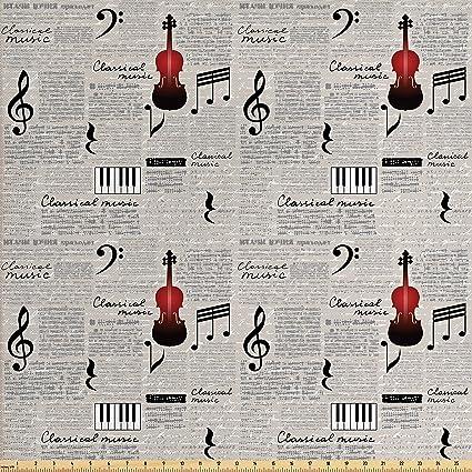 Lunarable Old Newspaper Tela por el Yard, Letras de música clásicas en estilo de escritura