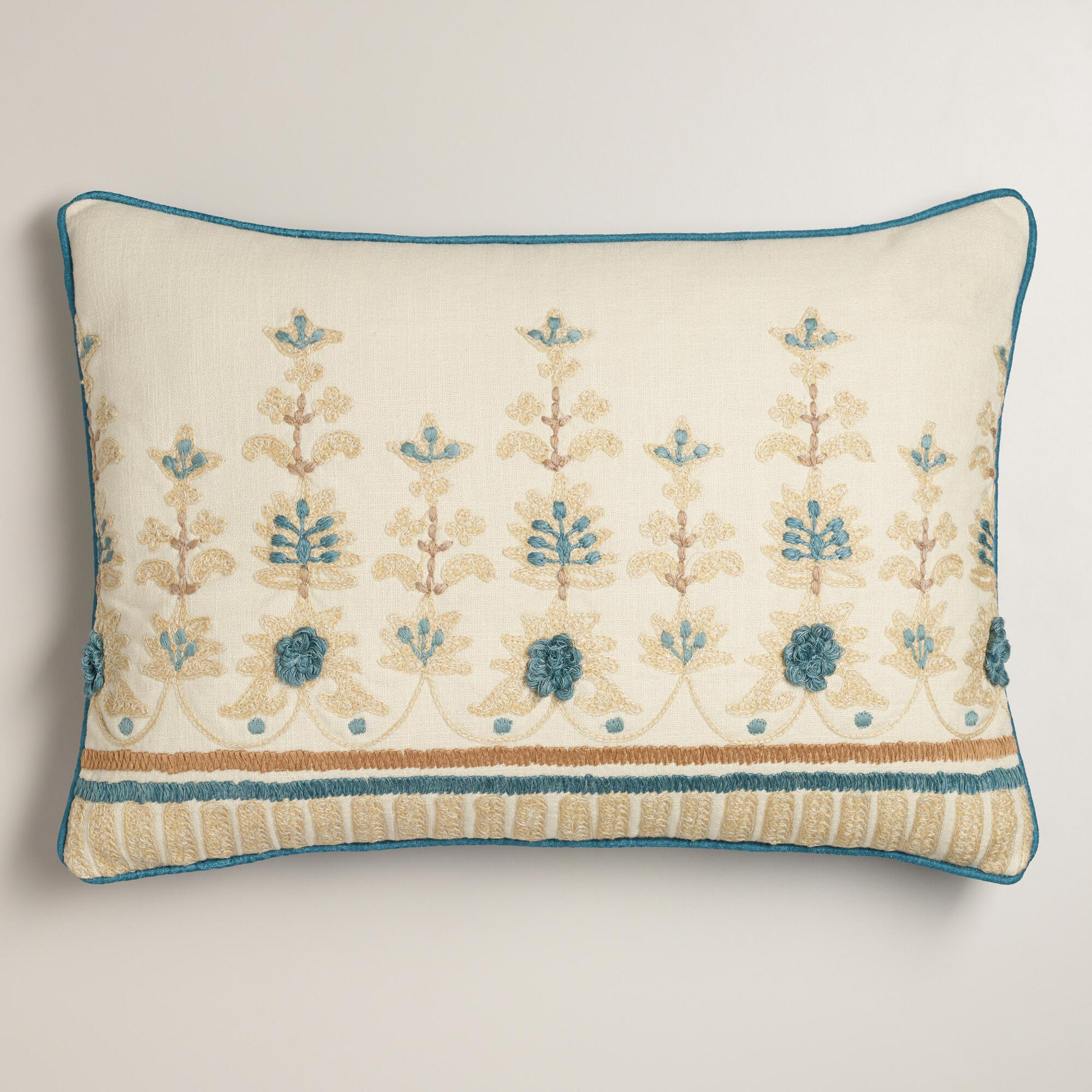 Blue and Tan Embroidered Lumbar Pillow | World Market