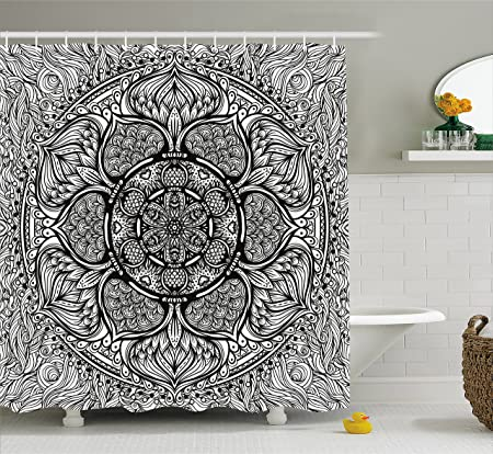 India Shower Curtain by Ambesonne, Mandala Inspired Ethnic Artwork ...