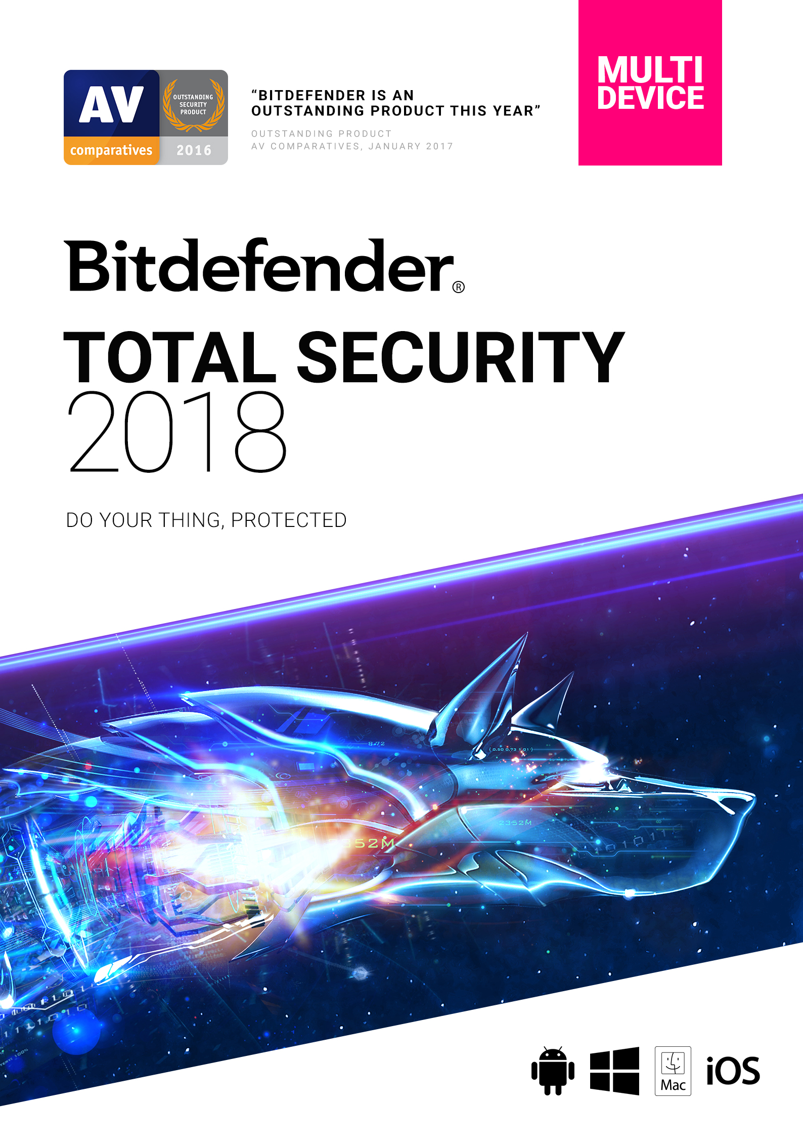 Bitdefender Total Security 2018 | 5 Devices, 1 Year | Download [Online Code]