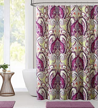 Colorful Boho Paisley Fabric Shower Curtain Large Print Design Magenta Purple Pink